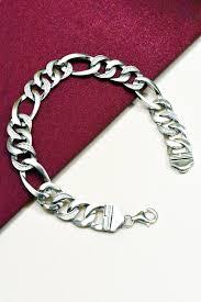 mens bracelet sterling silver images Figaro italian design stone studded men 39 s bracelet 925 sterling jpg
