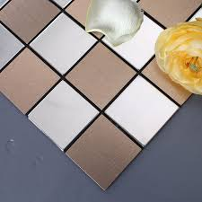 metallic tiles backsplash tile backsplash kitchen stainless steel tiles square metallic