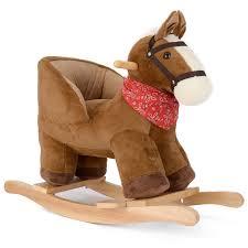 Rocking Horse High Chair Wooden Animal Rocking Horse Baby Nursery Rocker Ride On Infant