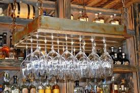 rustic bronze hanging wine glass rack elegant and useful hanging