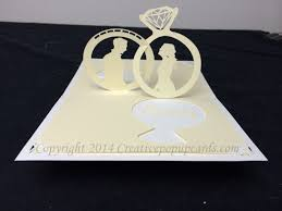 wedding ring pop up card with silhouettes creative pop up cards