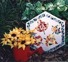 Garden Stone Craft - falling leaves mosaic garden stone favecrafts com