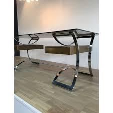 bureau metal et verre bureau scandinave en verre et en métal chromé 1970 design market
