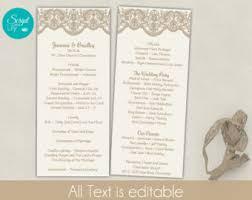 Easy Wedding Programs Lace Wedding Program Etsy
