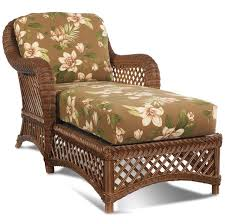 Floral Chaise Laminated Wooden Indoor Wicker Chaise Lounge With Floral Pattern
