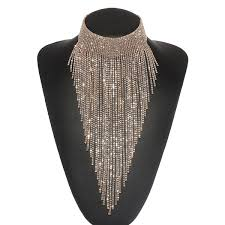 collar necklace images Holylove sexy gold silver long rhinestone beaded tassels statement jpg