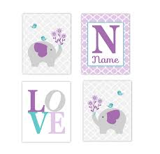 baby girls nursery canvas wall art purple lavender teal aqua gray