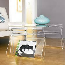furnitures small clear acrylic side table feat book storage on