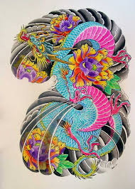 colorful traditional japanese with flowers design by
