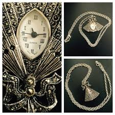 vintage necklace watch pendant images Vintage jewelry hp marcasite fan watch pendant necklace poshmark jpg