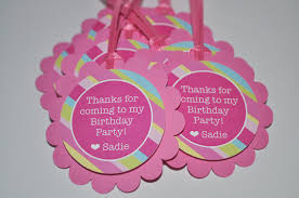 Pink And Yellow Birthday Decorations Birthday Party Favor Tags Girls Birthday Favors Thank You Tags