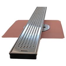 linear shower drain with copper drain copperlab