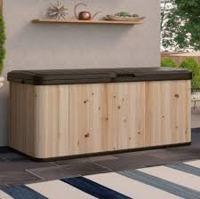 120 gallon hybrid cedar and resin deck box water resistant outdoor