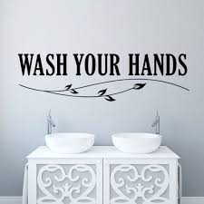 bathroom wall decal quotes beige stripe skirt beige vanity top bathroom decals stickers colorful pom small sink vanity neutral baby room deecor bird crib mobile removable