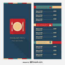 simple menu template free modern restaurant menu template vector free