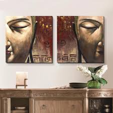 2 piece 100 hand painted oil painting on canvas buddha wall art