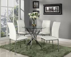 Glass Round Kitchen Table Round Dining Set With 4 White Chairs Amazon Co Uk Kitchen U0026 Home