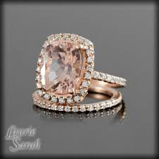 morganite gold engagement ring gold diamond wedding band cushion cut morganite