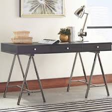 grey desk with drawers sawhorse home office writing desk 3 drawers dark grey metal base