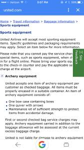 how much does united charge for bags flying international bow hunting help