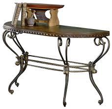 homelegance copeland half moon sofa table with metal base