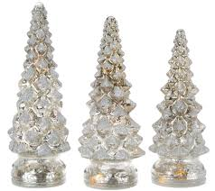 set of 3 lit twinkling mercury glass trees by valerie page 1