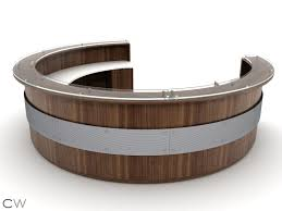 Semi Circular Reception Desk Full Circular Greeting Desk With Floating Circular Accent Screen