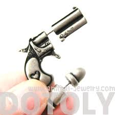 gun earrings 3d realistic gun and bullet shaped stud earrings in