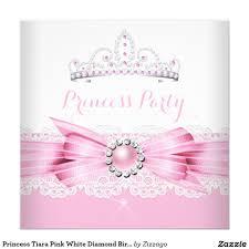 Princess Birthday Invitation Card Princess Tiara Pink White Diamond Birthday Party 5 25x5 25 Square