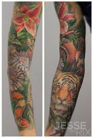 rix tattoos tattoos flower vine forest sleeve