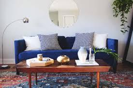 sofa mediterranean style blue velvet living room manhattan rustic