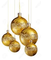 shiny golden baubles on white background stock photo