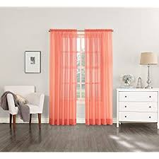 Sheer Coral Curtains No 918 Marley Semi Sheer Rod Pocket Curtain Panel 40