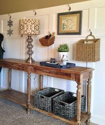 White Foyer Table Furniture White Painting Wooden Board Combine With Wicker Rattan