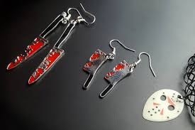 friday the 13th bloody knives pair of earrings halloween jewelry