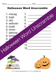 printable halloween word unscramble
