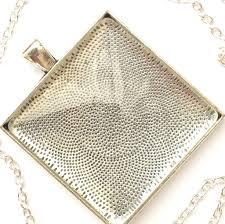 silver necklace diy images Big square pendant kit diy antique silver bezel glass cabochon jpg