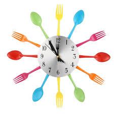 Pendules Murales Cuisine by 2 Couleurs Moderne Ruban Multi Couleur Couverts Cuisine Horloge