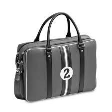 sacoche bureau sacoche bureau 15 pouces tissu vintage gris et noir entre 2 rétros
