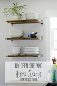 diy kitchen shelves diy open shelving for our kitchen lemon thistle