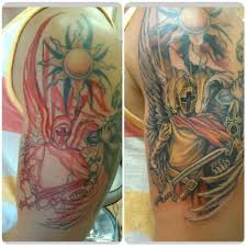 colored soldier sun and on half sleeve