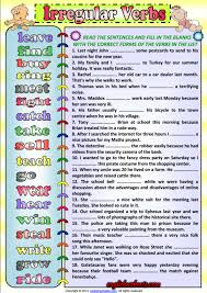 irregular verbs simple past tense esl exercise worksheet esl