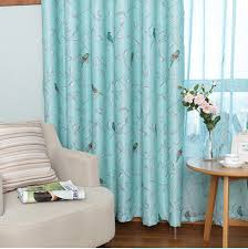 Teal Bird Curtains Luxury Modern Fashion Green Bird Polyester Curtains For Living