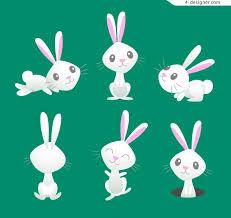 rabbit material 4 designer white rabbit vector material