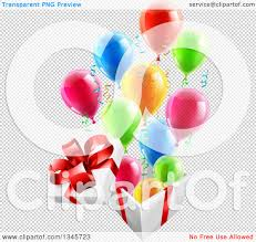 clipart of a 3d open gift box with streamers and colorful party