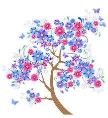 blue flowering tree and butterflies on awhite background stock