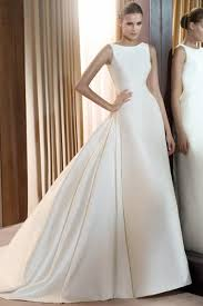 robe de mari e satin robe de mariée satin sans manches traîne mi longue a ligne simple