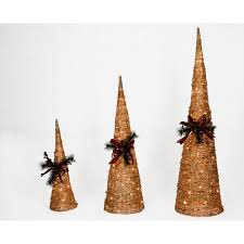 shop holiday living set of 3 grapevine cone christmas trees at
