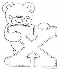 cute bear x alphabet s53d5 coloring pages printable