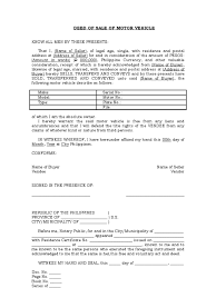 Motor Vehicle Bill Of Sale Word Document by Deed Of Sale Of Motor Vehicle Template